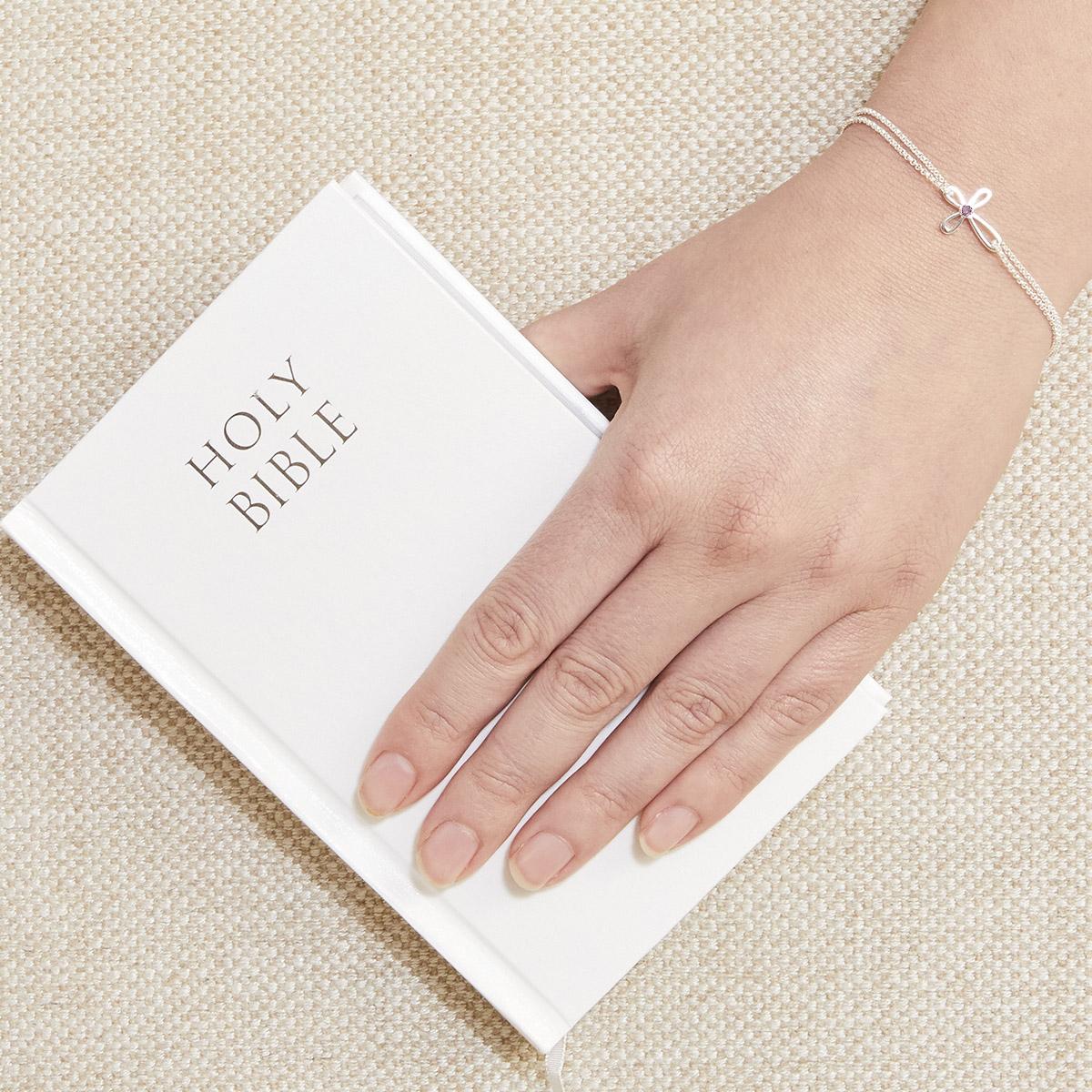 Cherish Pink Sapphire Cross Bracelet