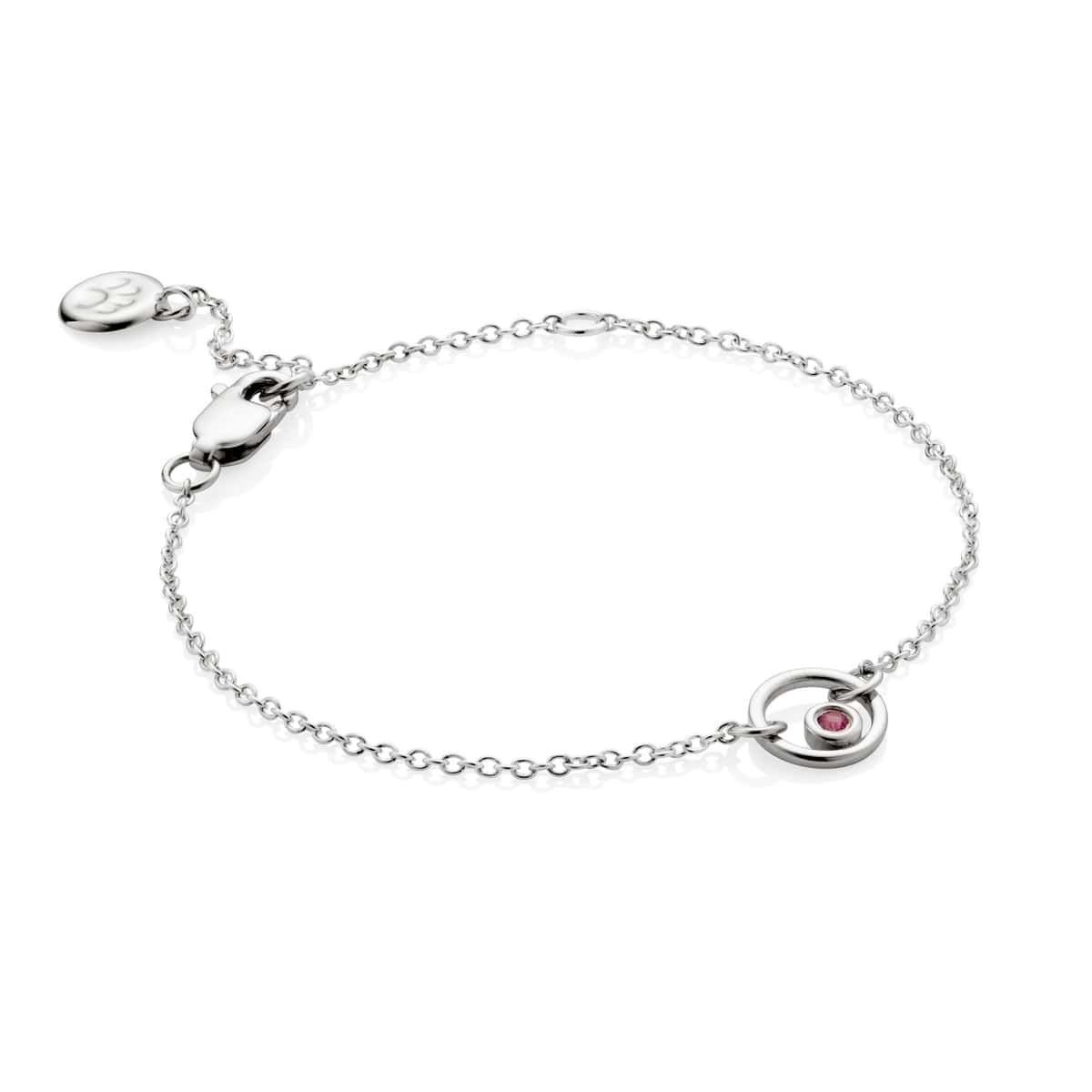 Molly B London 925 Sterling Silver Girls Pink Sapphire Halo Necklace