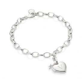 Sterling Silver Small Heart Diamond Locket Bracelet