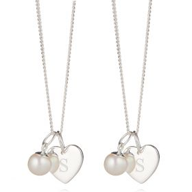 Personalised Girl's First Pearl Heart Necklace Gift Set