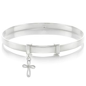 Personalised Cherish Diamond Cross Christening Bangle