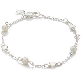 Pearl Station Heart Bracelet