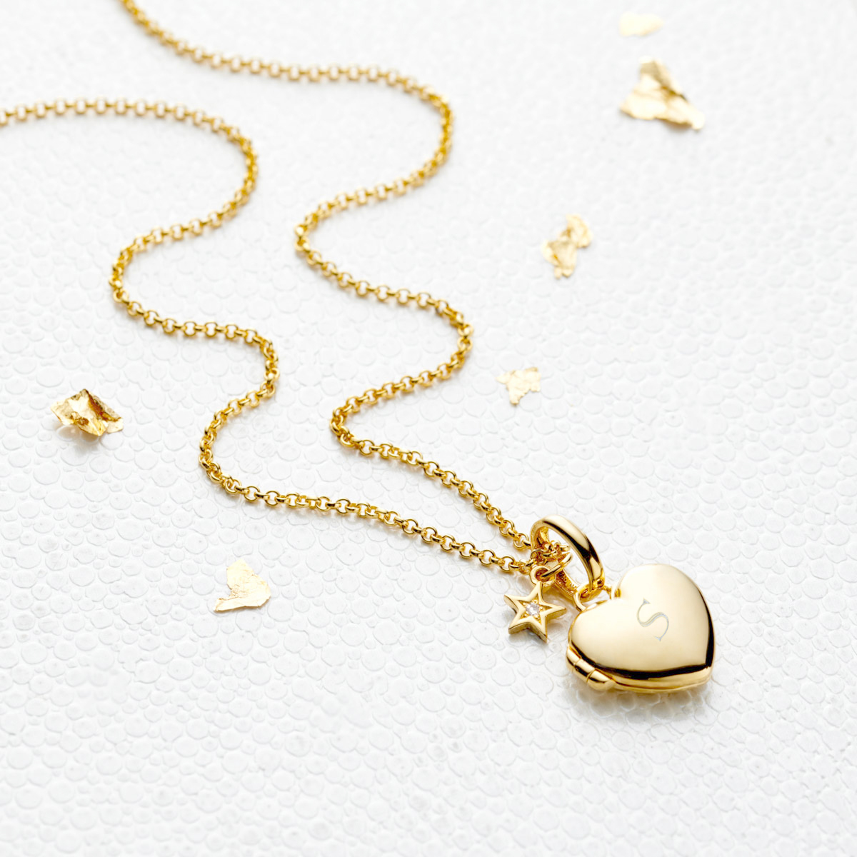 Personalised Gold Vermeil Small Heart ‎Diamond Locket Necklace