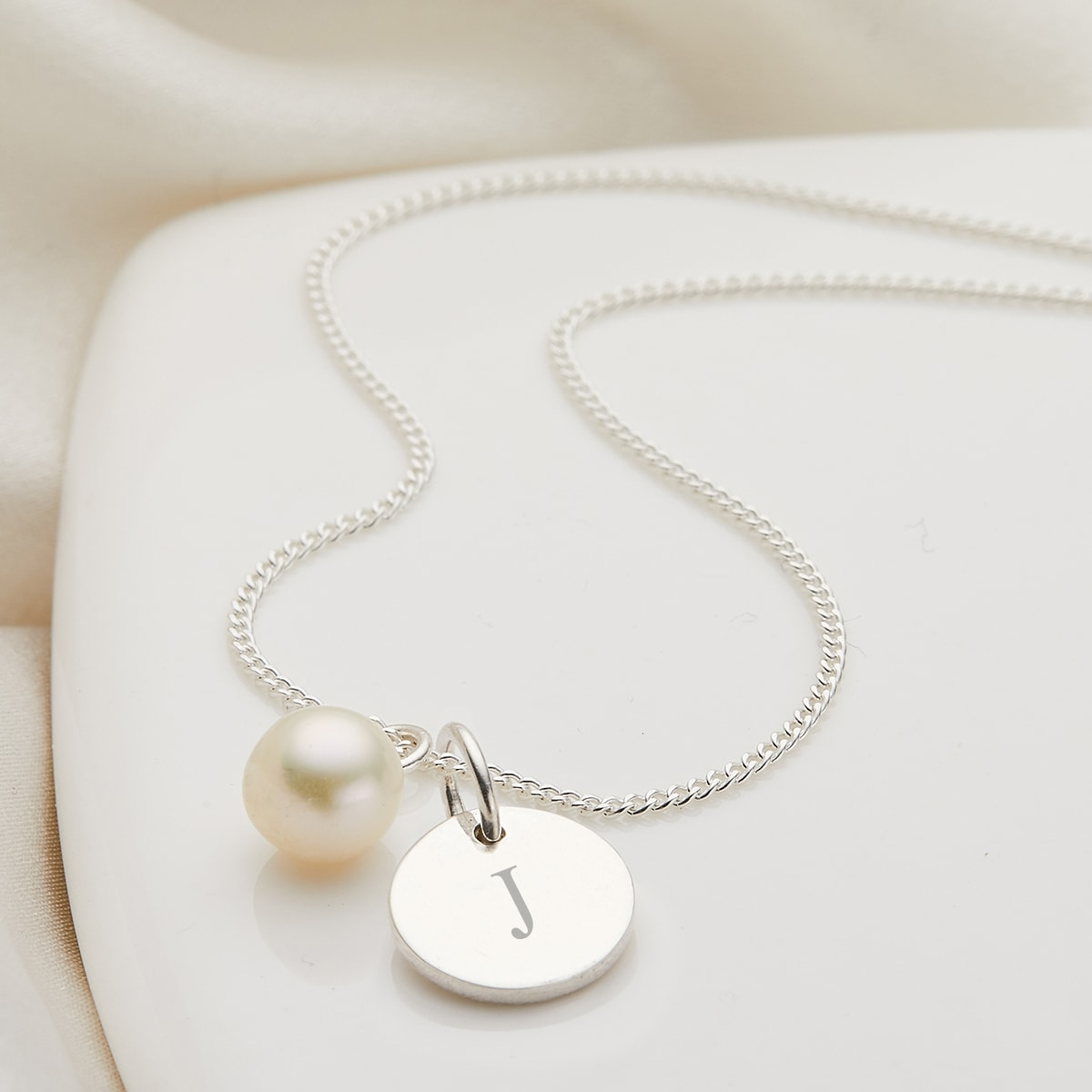 Personalised My First Pearl Disc Necklace