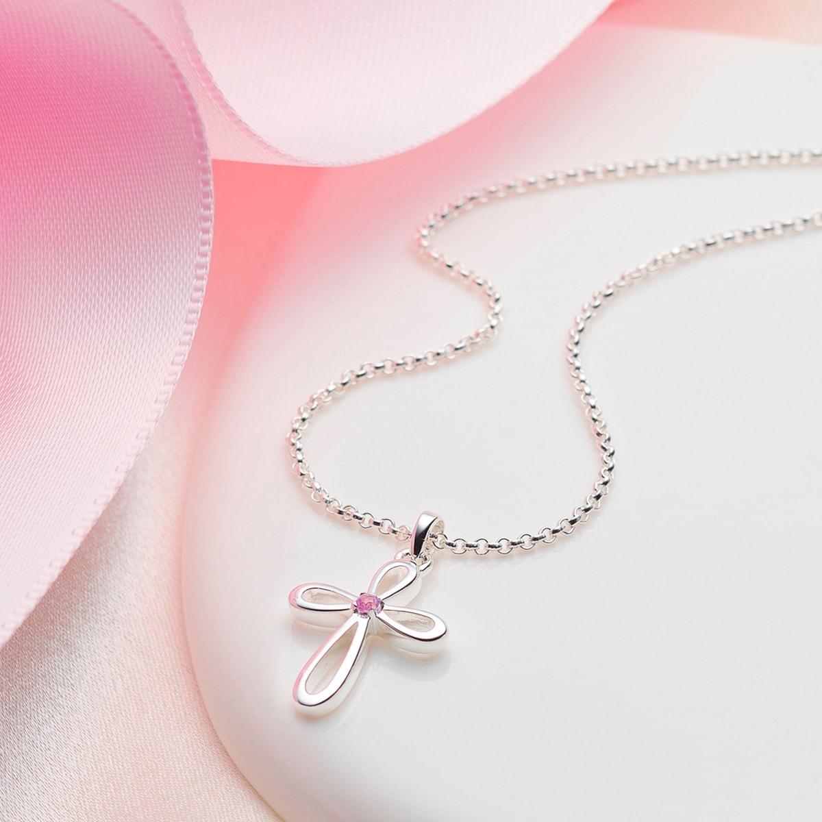 Cherish Pink Sapphire Cross Necklace