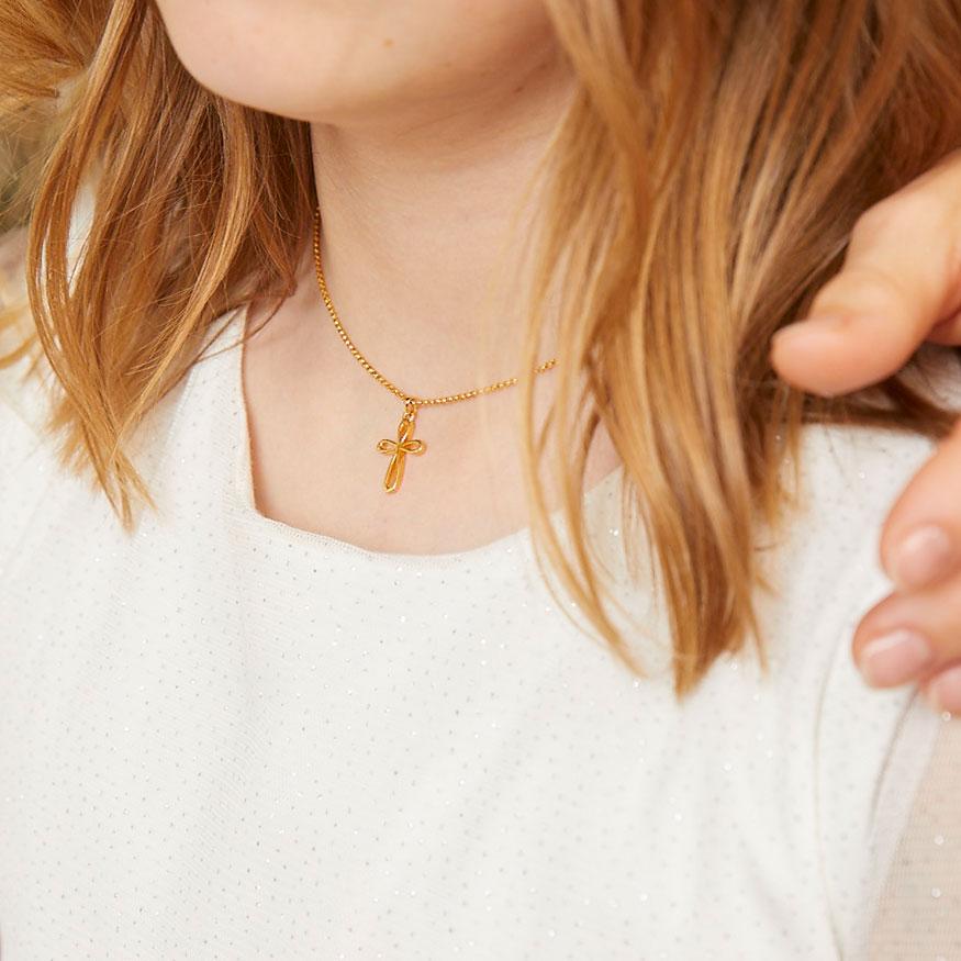 Gold Vermeil Cherish Signature Cross Necklace