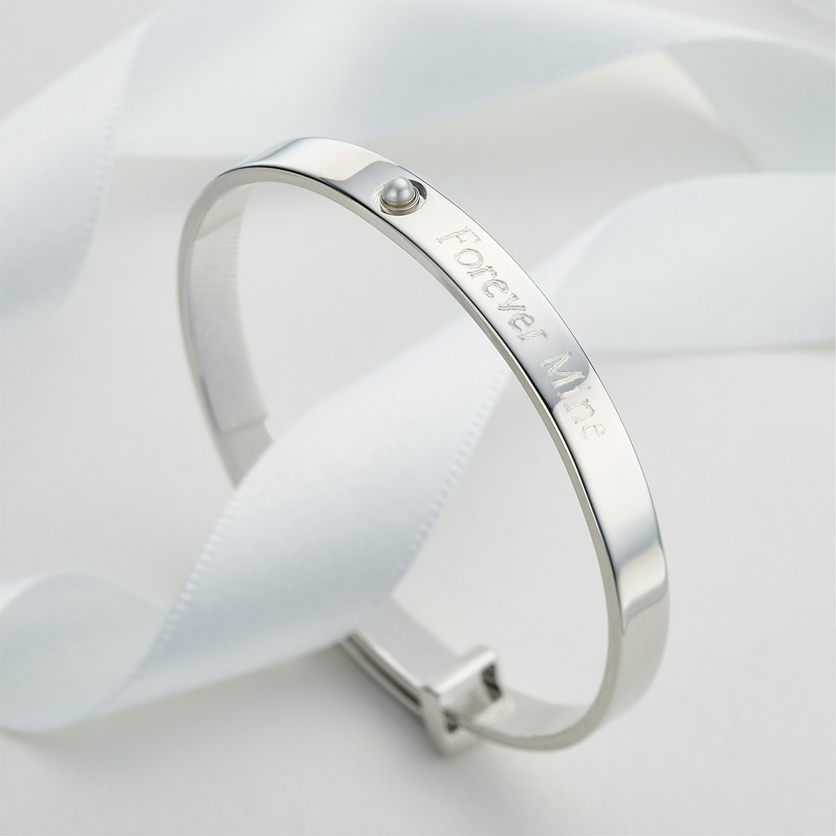 Personalised June Birthstone Christening Bangle