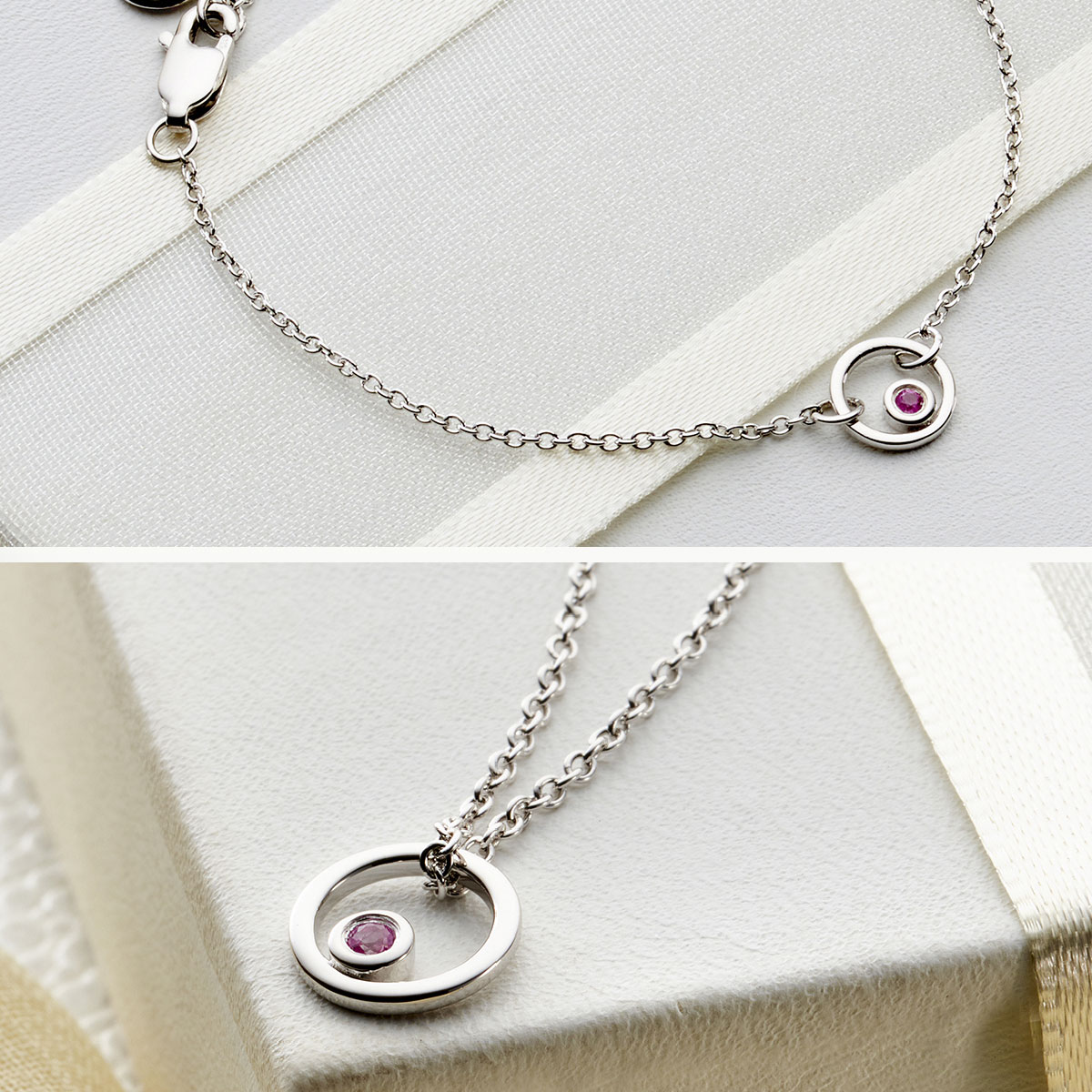 Pink Sapphire necklace and bracelet