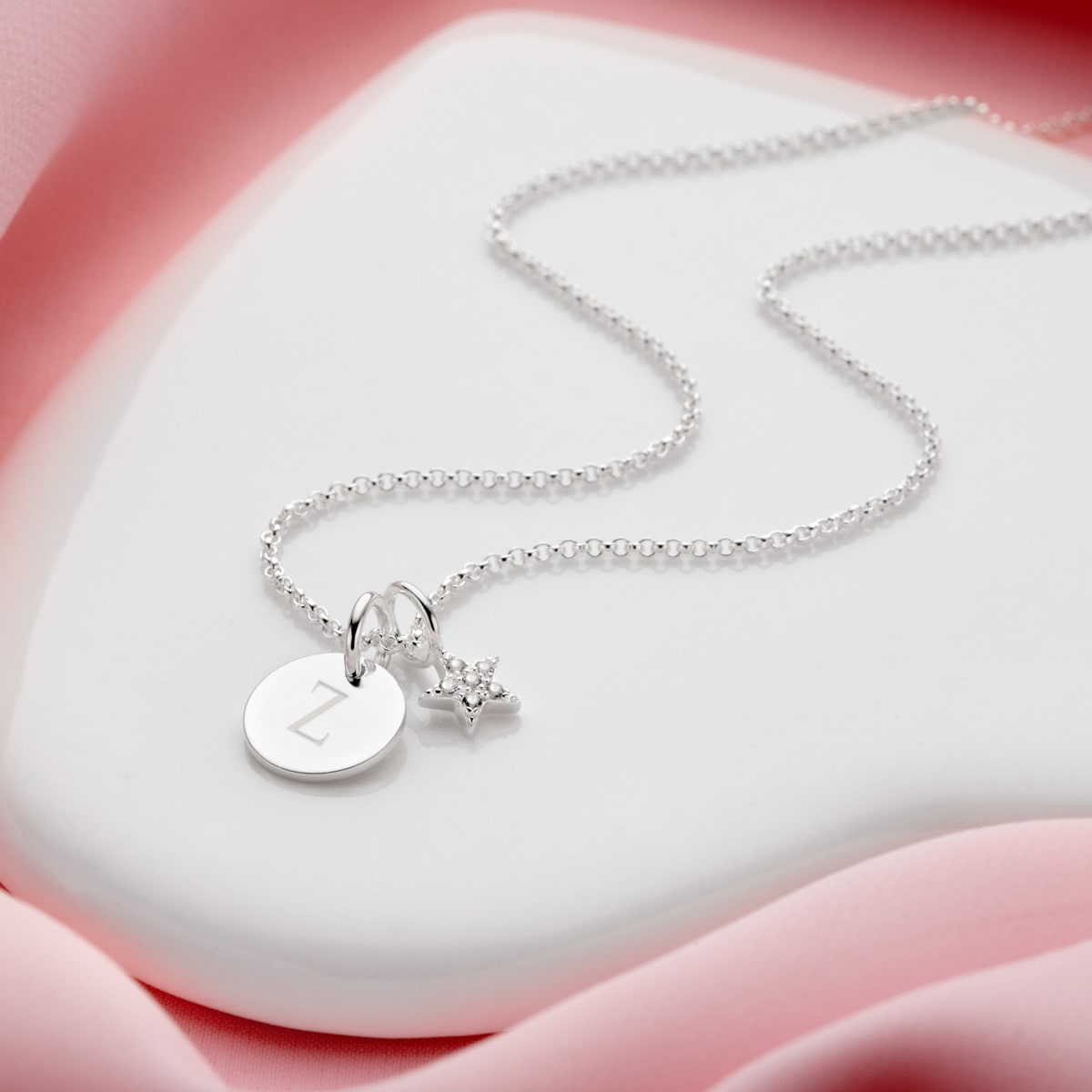 Personalised Celeste White Topaz Star & Disc Necklace