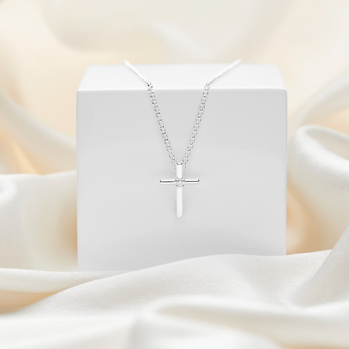 Faith Diamond Rounded Cross Necklace