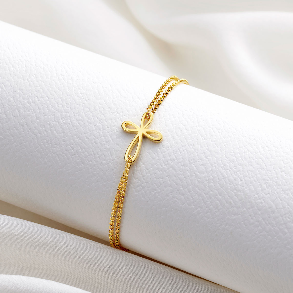 Gold Vermeil Cherish Signature Cross Bracelet