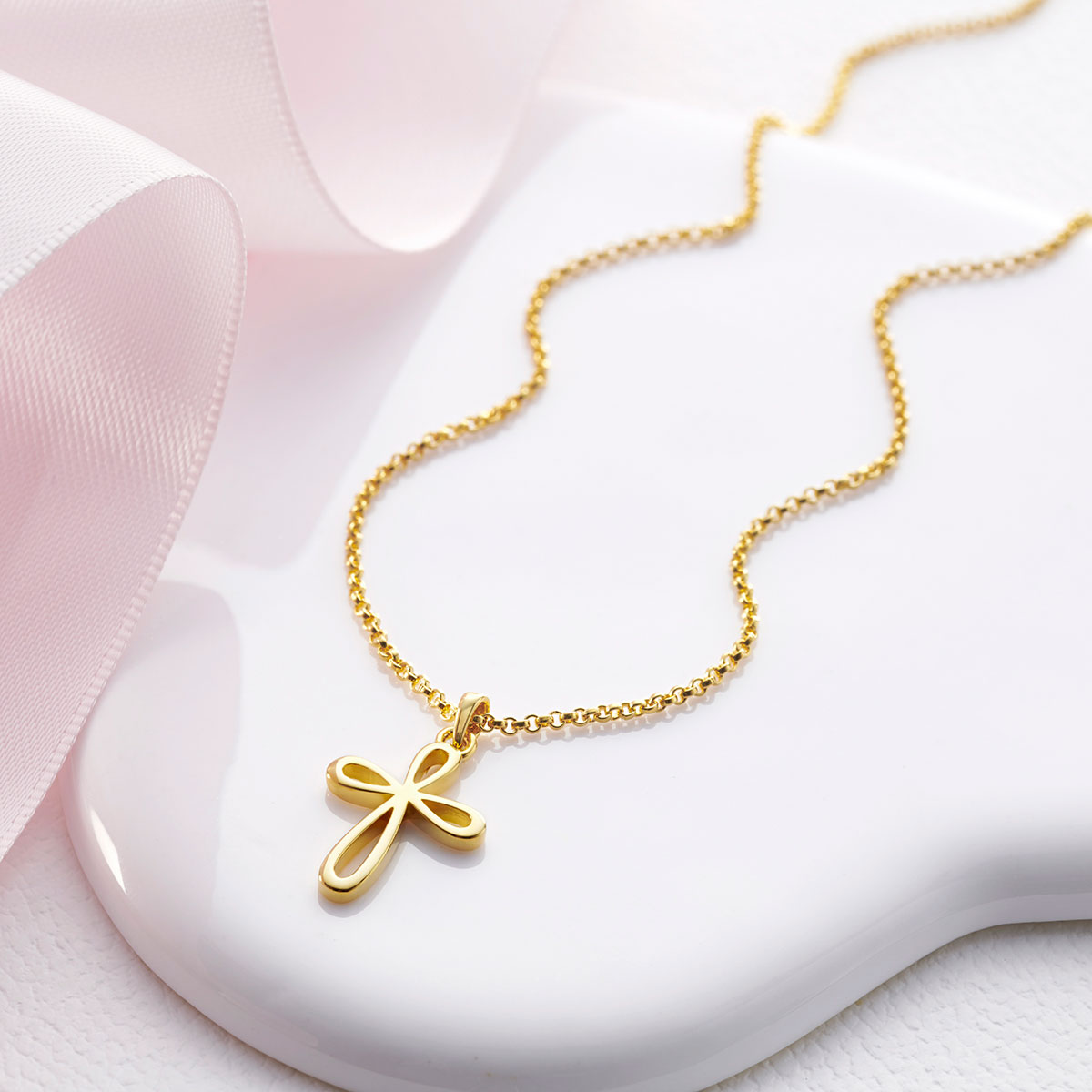 Gold Vermeil Cherish Signature Cross Necklace